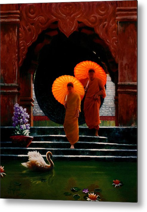 Oriental Metal Print featuring the painting Tangerine Parasols by Stephen Lucas