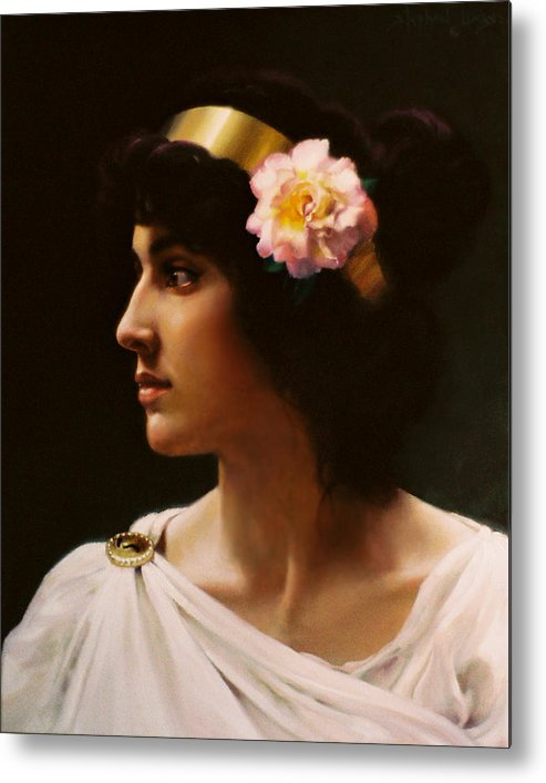 Goddess Metal Print featuring the painting Venus Of The Pink Rose   My Version Inspired By A Work Of Bouguereau by Stephen Lucas