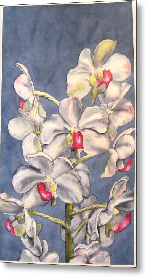 Floral Metal Print featuring the painting Orchids by Diane Ziemski