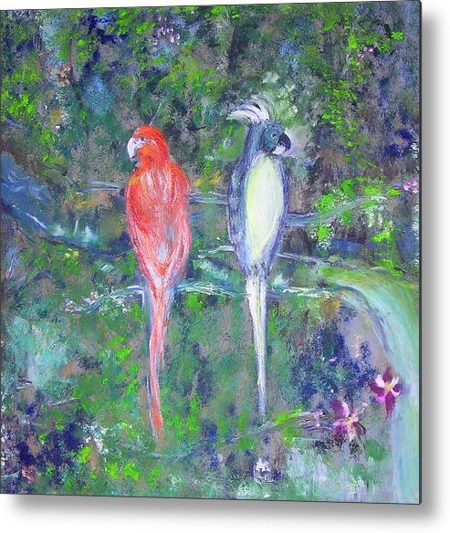 Wildlife Metal Print featuring the painting Brazilian Parrots by Michela Akers