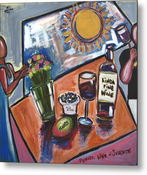 Floral Metal Print featuring the painting Flowers Wine N Sunshine by Albert Almondia