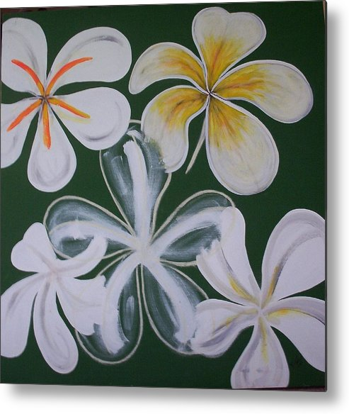 Frangapanni Metal Print featuring the painting Frangapanni by Joan Stratton