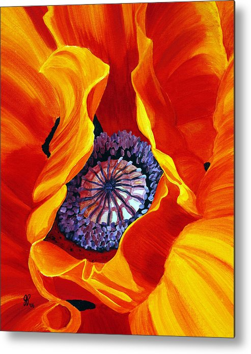 Macro Flower Metal Print featuring the painting Bee by Julie Pflanzer