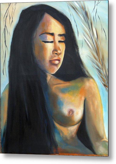 Nude Pan-asian Girl Woman Metal Print featuring the painting Flor De La Vida by Niki Sands