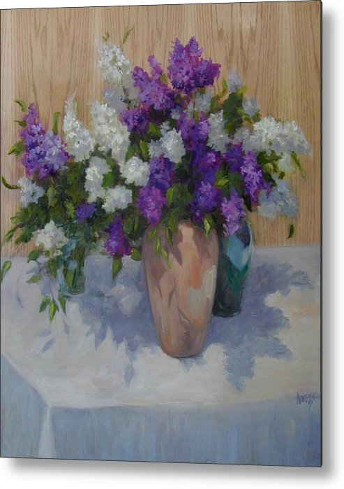 Lilacs Metal Print featuring the painting Lilacs by Patricia Kness