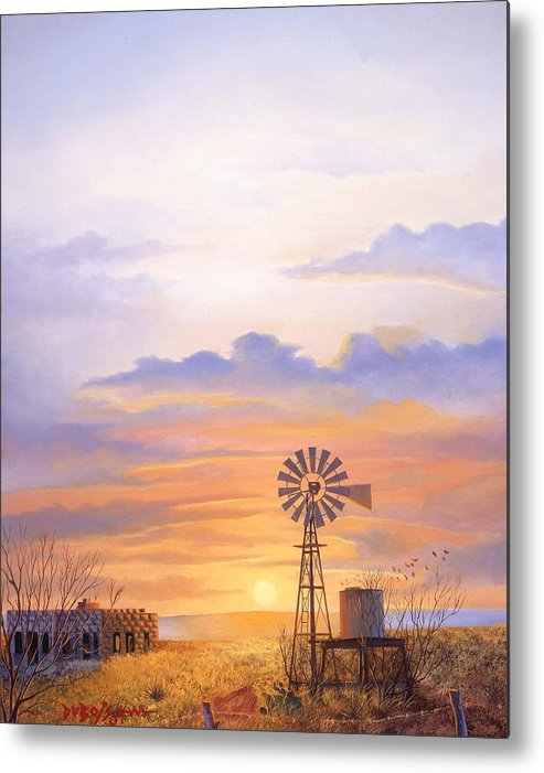 Windmill Metal Print featuring the painting West Texas Sundown by Howard Dubois