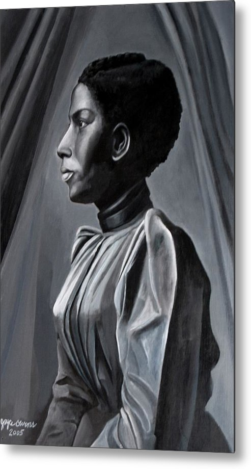 Figurative Metal Print featuring the painting Out Of The Box Woman In Shirtdress by Joyce Owens