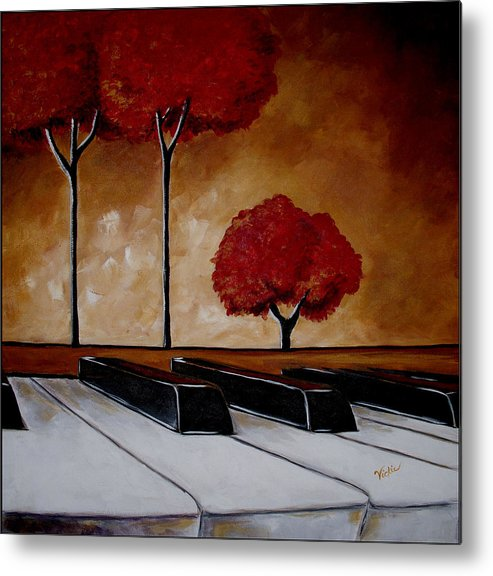 Piano Metal Print featuring the painting The Piano Man's Dream by Vickie Warner