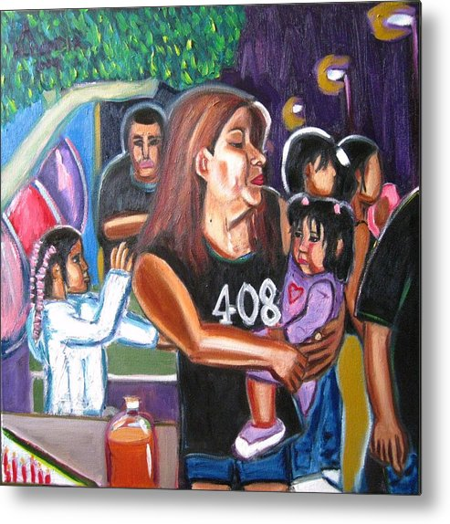 Oil Metal Print featuring the painting Bean's Birthday by Albert Almondia