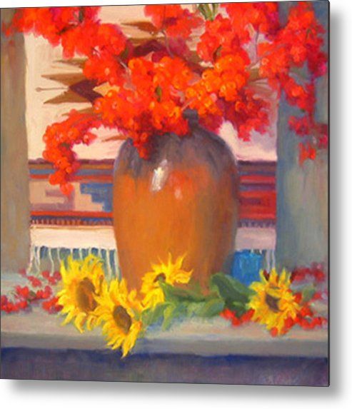 Still Life Metal Print featuring the painting Berry Bouquet by Bunny Oliver