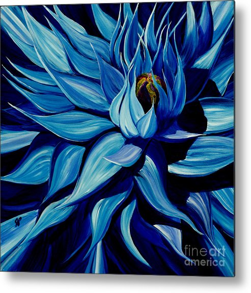 Macro Flower Metal Print featuring the painting Blue Clematis by Julie Pflanzer