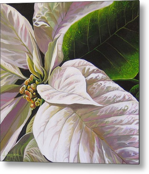 White Poinsettia Metal Print featuring the painting Christmas Eve by Hunter Jay