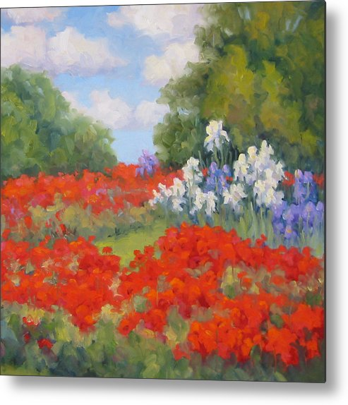 Poppies Metal Print featuring the painting Festival Of Poppies by Bunny Oliver