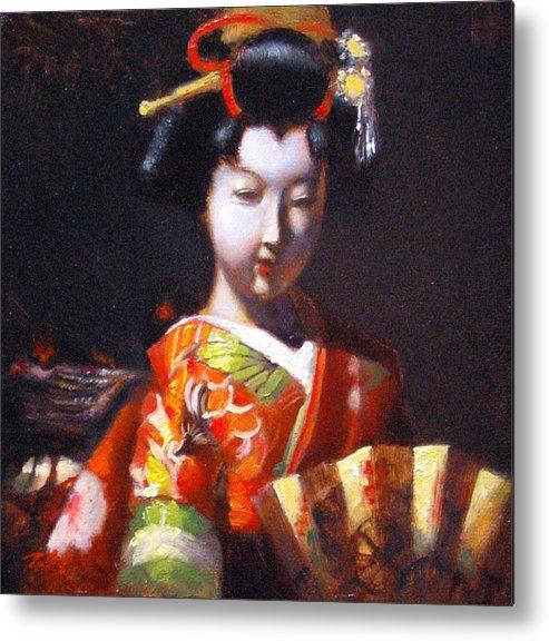 Geisha Metal Print featuring the painting Geisha With Golden Fan by Takayuki Harada