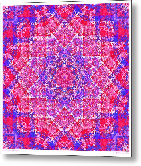 Kaleidoscope Metal Print featuring the digital art kaleido-Rubiat-3D Sq 53d Kwilt by Terry Anderson