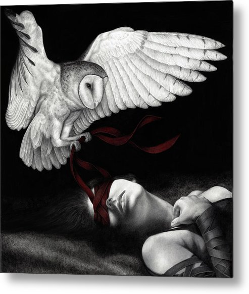 Woman Metal Print featuring the painting On Silent Wings by Pat Erickson
