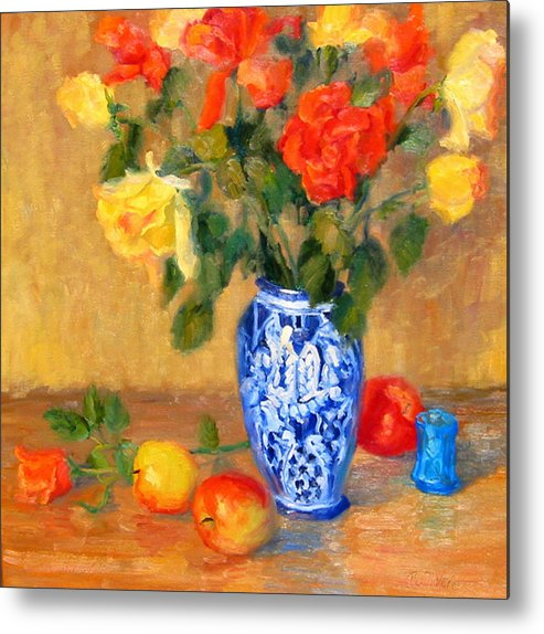 Rose Metal Print featuring the painting Roses In A Mexican Vase by Bunny Oliver