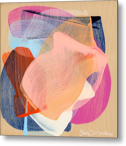Abstract Metal Print featuring the painting Out Of The Blue 03 by Claire Desjardins