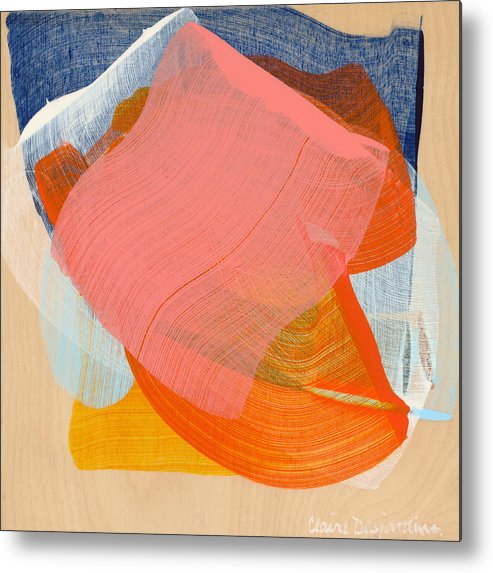Abstract Metal Print featuring the painting Out Of The Blue 10 by Claire Desjardins
