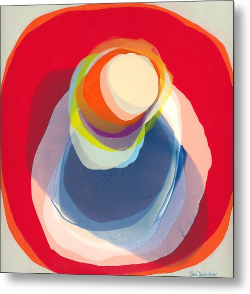 Abstract Metal Print featuring the painting Reflective by Claire Desjardins