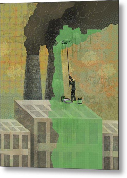 Metal Print featuring the digital art Greenwashing by Dennis Wunsch