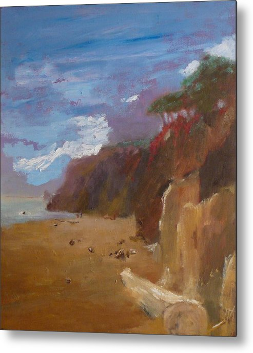 Sea Scape Metal Print featuring the painting Beach In Santa Barbara by Irena Jablonski