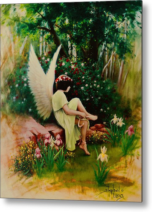 Angel Metal Print featuring the painting Beltaine Angel by Stephen Lucas