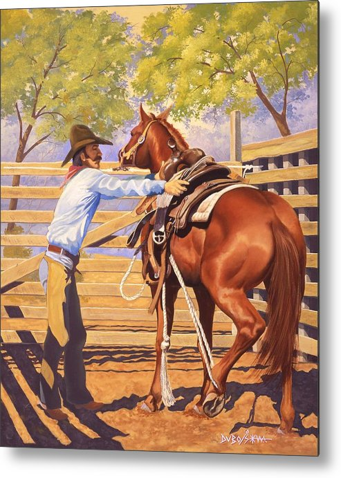 Cowboy Metal Print featuring the painting First Saddling by Howard Dubois
