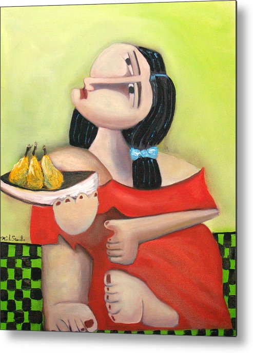 Cubist Cubism Pears Fruit Feet Girl Green Lime Figurative Metal Print featuring the painting Nouna by Niki Sands