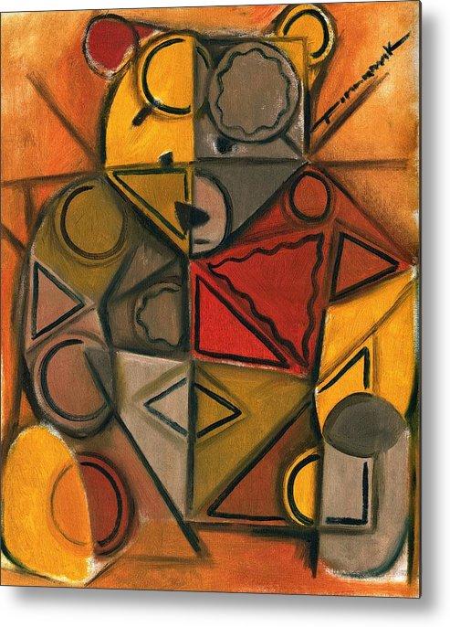 Abstract Cubism Teddy Bear Art Print Metal Print