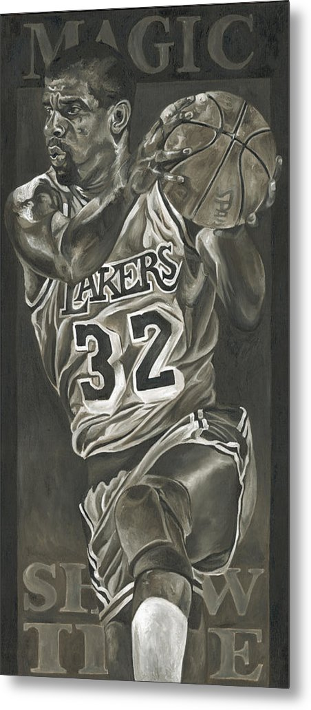 Magic Johnson Metal Print featuring the painting Magic Johnson - Legends Series by David Courson