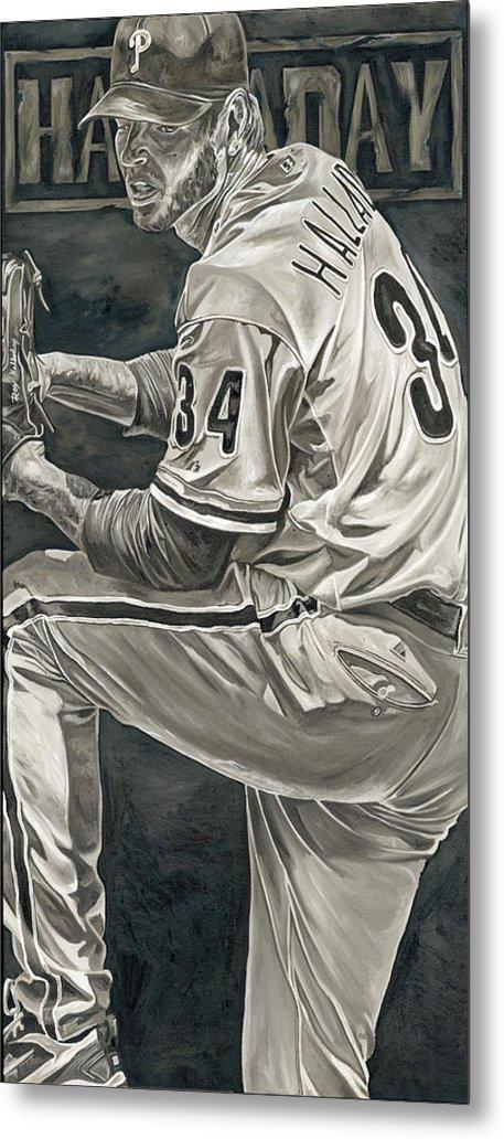 Roy Halladay Philadelphia Phillies Pitcher Baseball Painting David Courson Art Metal Print featuring the painting Roy Halladay by David Courson