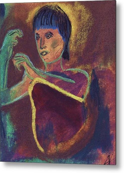 Figurative Metal Print featuring the mixed media Woman With Green Arm by JuneFelicia Bennett