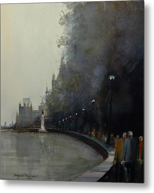 London Metal Print featuring the painting Along the Thames by Charles Rowland