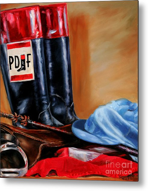 Metal Print featuring the painting Jockey Tack by Thomas Allen Pauly