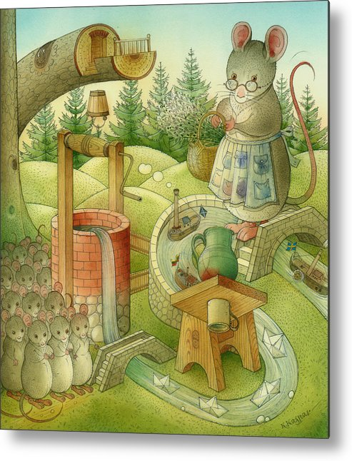 Landscape Metal Print featuring the painting Wrong World by Kestutis Kasparavicius