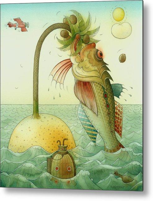 Fish Sea Landscape Metal Print featuring the painting Fish by Kestutis Kasparavicius
