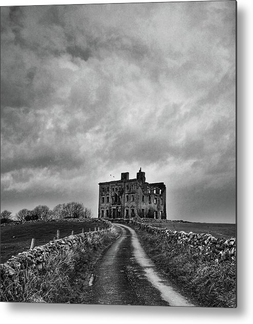 #historicalbuildings #heritage #ireland #irish #stonewalls #landscape #travel #blackandwhite #irishhistory #irishroots #storm #weather #rural #oldbuilding #manorhouse #tourism #galway #wildatlanticway #blackandwhitephotography #irishroots #architecture # Metal Print featuring the photograph Tyrone House by Rachel Dubber