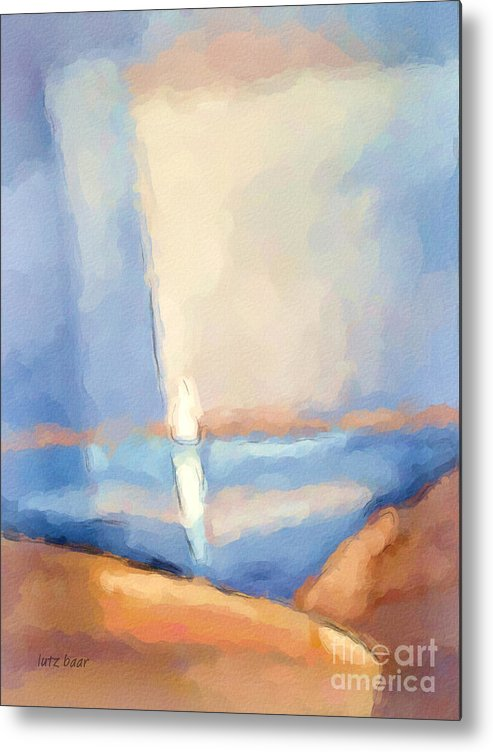 Seascape Metal Print featuring the painting Barren Coast by Lutz Baar
