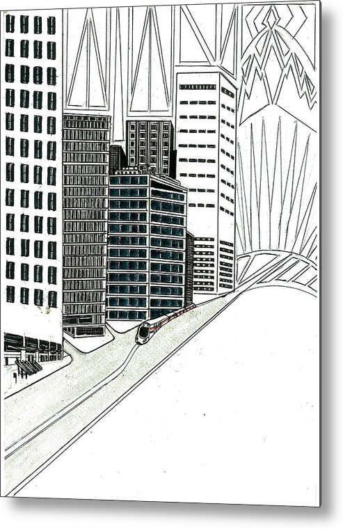 Metal Print featuring the drawing Cityscape by Harry Richards