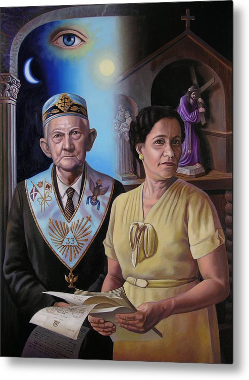 Grandparent Metal Print featuring the painting My Grandparents by Miguel Tio