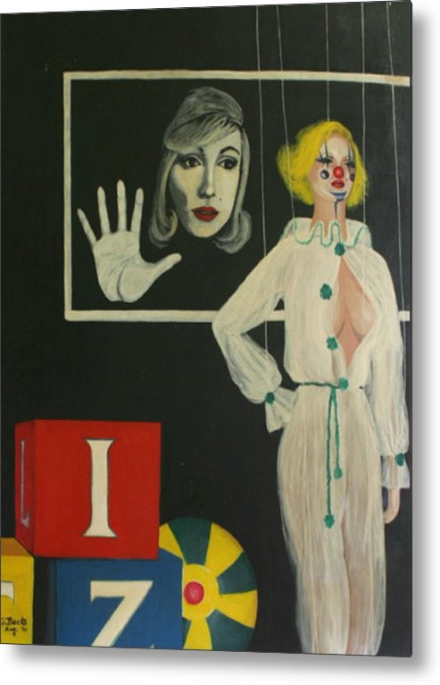 Figurative Metal Print featuring the painting A Portrait Of A Woman by Georgette Backs