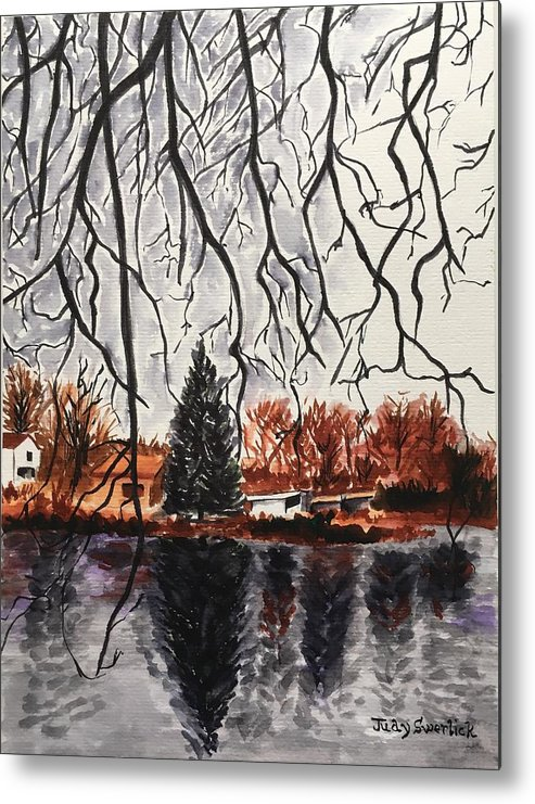 Landscape Metal Print featuring the painting Autumn in Upstate by Judy Swerlick