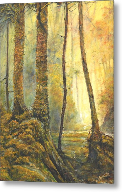 Landscape Impressionist Forest Metal Print featuring the painting Forest Wonderment by Craig shanti Mackinnon