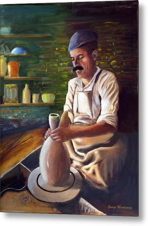 Potter At Work Metal Print featuring the print Potter at work by George Markiewicz
