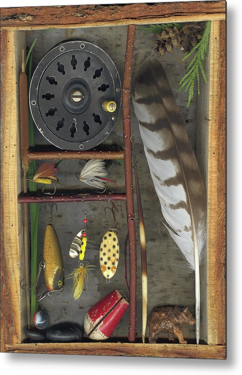 Shadow Box Metal Print featuring the mixed media Shadow Box A by Sandi F Hutchins