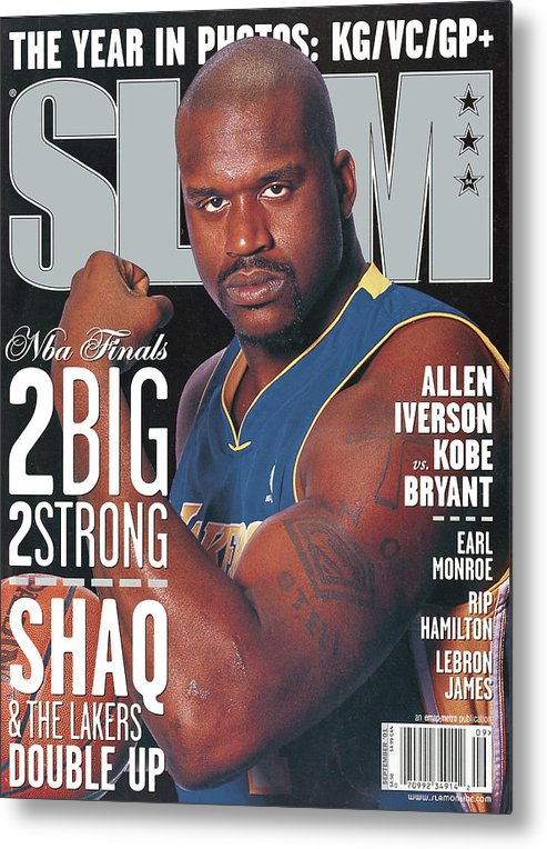 Shaquille O'neal Metal Print featuring the photograph 2 Big - 2 Strong: Shaq & The Lakers Double Up SLAM Cover by Getty Images