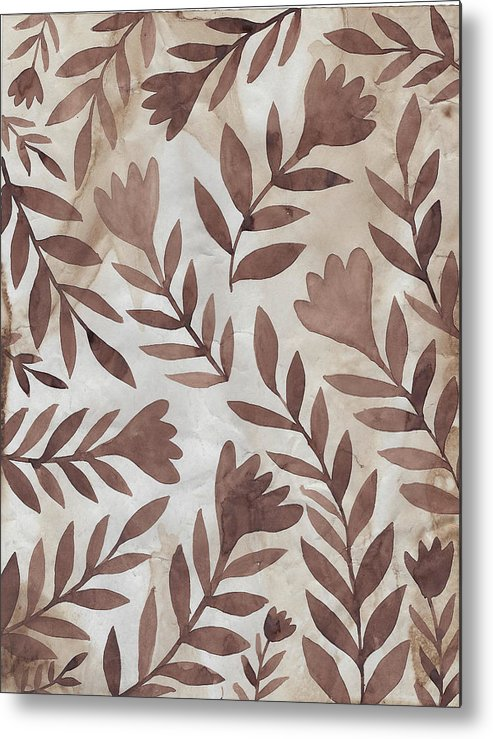 Brown Metal Print featuring the painting Flowing Flowers by Elaine Jackson