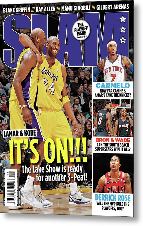 Kobe Bryant Metal Print featuring the photograph Lamar & Kobe: It's On!!! SLAM Cover by Getty Images