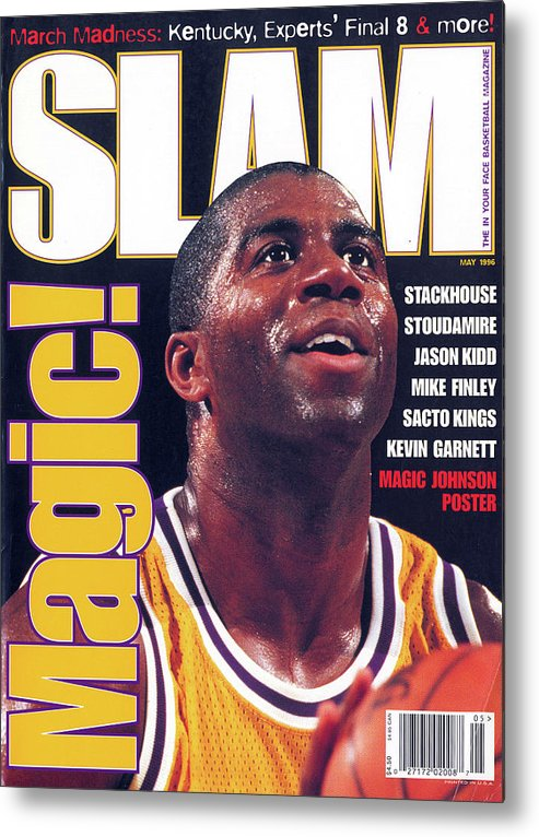 Magic Johnson Metal Print featuring the photograph Magic! SLAM Cover by Getty Images